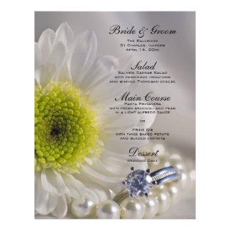 White Daisy and Diamond Wedding Menu Full Color Flyer