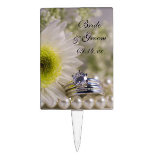White Daisy and Diamond Wedding Rings Cake Topper