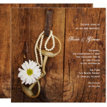White Daisy and Horse Bit Country Western Wedding Invitation