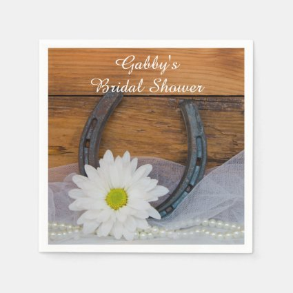 White Daisy and Horseshoe Bridal Shower Napkins Paper Napkins