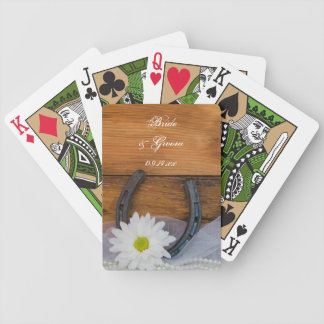 White Daisy and Horseshoe Country Wedding Bicycle Playing Cards
