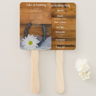 Wedding Themed White Daisy and Horseshoe Country Western Wedding Hand Fan