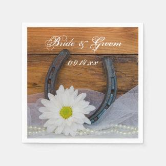 White Daisy and Horseshoe Country Western Wedding Napkin