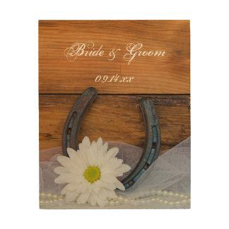 White Daisy and Horseshoe Wedding Wood Canvas