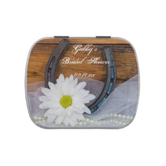 White Daisy and Horseshoe Western Bridal Shower Candy Tin