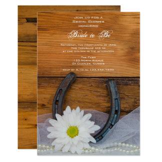 White Daisy and Horseshoe Western Bridal Shower Card
