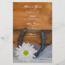 White Daisy and Horseshoe Western Wedding Menu