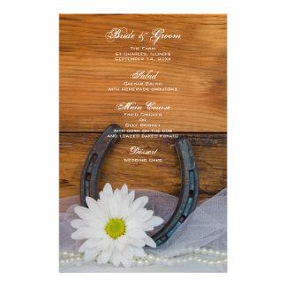 White Daisy and Horseshoe Western Wedding Menu