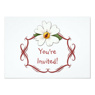 White Daisy and Ladybug Birthday Party Invitation