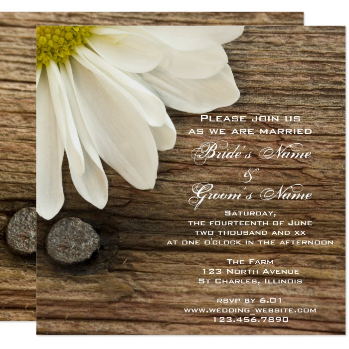 White Daisy Wedding Invitation: White Daisy Barn Wood Country Wedding Invitation