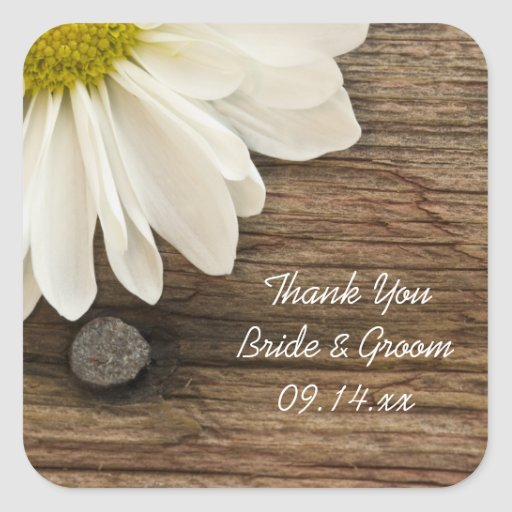 White Daisy Barn Wood Country Wedding Thank You Square Sticker