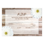 White Daisy Barn Wood Wedding RSVP Response Card Personalized Invitation