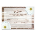 "White Daisy Barn Wood Wedding RSVP Response Card 3.5"" X 5"" Invitation Card"