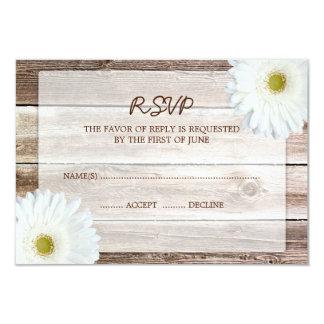 "White Daisy Barn Wood Wedding RSVP Response Card 3.5"" X 5"" Invitation Card"