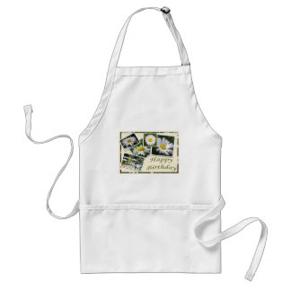 White Daisy Birthday Collage Adult Apron
