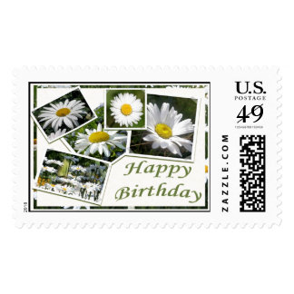 White Daisy Birthday Collage Stamps