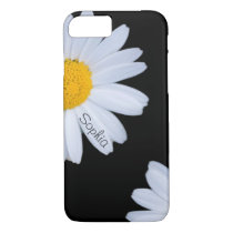 White Daisy Black Custom Name iPhone 8/7 Case