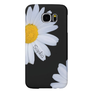 White Daisy Black Custom Name Samsung Galaxy S6 Case