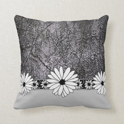 Leather Floor Pillows Cushions : White Daisy Black Faux Leather Throw Floor Pillow Zazzle