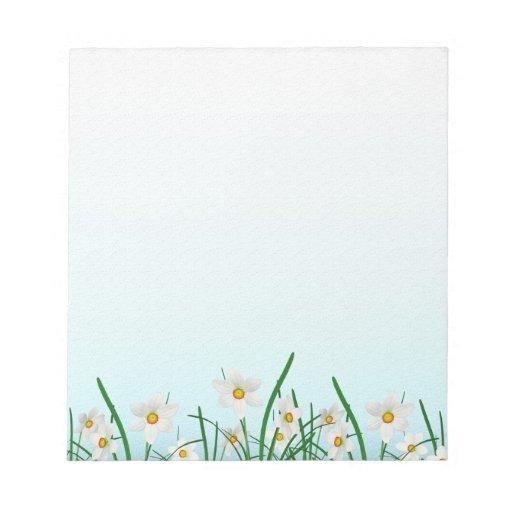 White Daisy Border Notepad | Zazzle