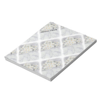 WHITE DAISY BOUQUET CUSTOMIZABLE NOTE PAD