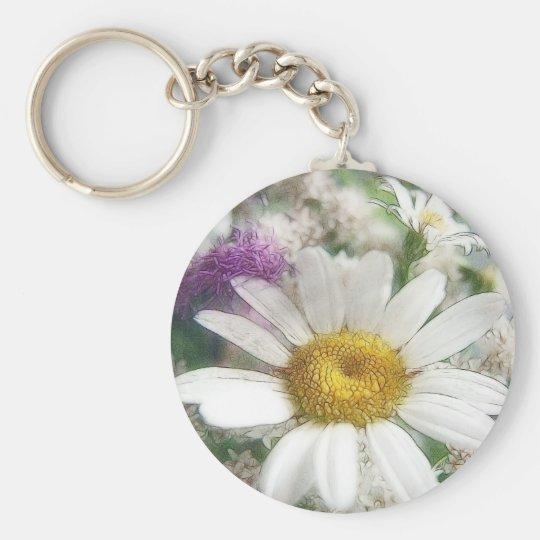 White Daisy Bouquet Keychain