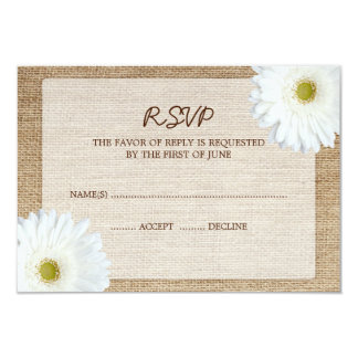 White Daisy Burlap Wedding RSVP Response Card