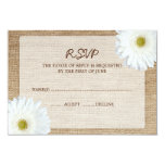 White Daisy Burlap Wedding RSVP Response Card Personalized Announcements