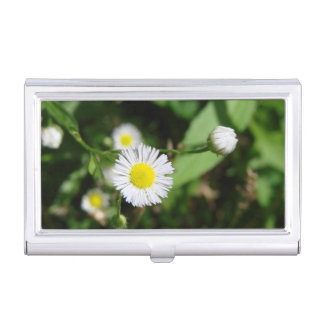 White Daisy Business Card Holders