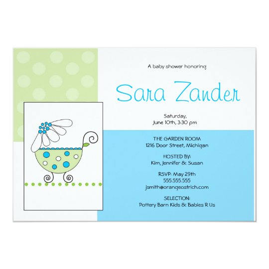 White Daisy Carriage Baby Shower Invitation