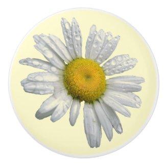 White Daisy Ceramic Knob