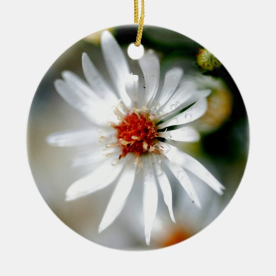 White Daisy Ceramic Ornament