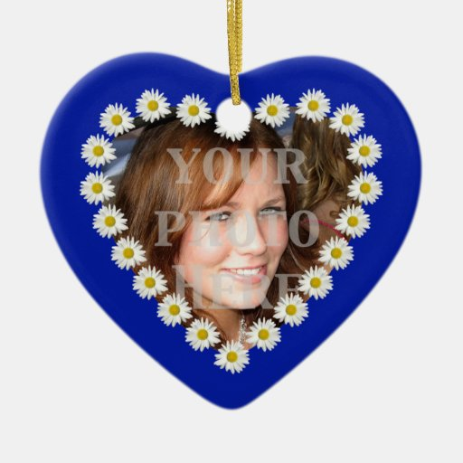 White Daisy Chain Heart Photo Ornament