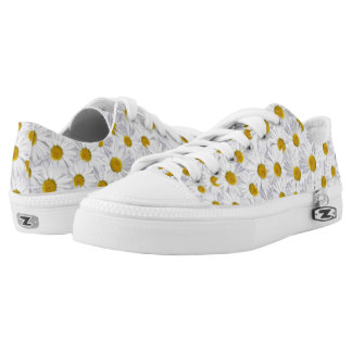 white daisy collage printed shoes