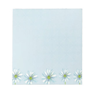 White Daisy Drawing Flower Row Pastel Blue Notepad