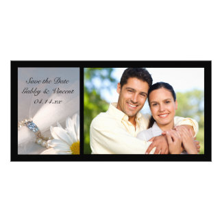 White Daisy Elegance Wedding Save the Date Photo Card