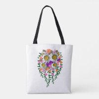 White Daisy Floral by Delynn Addams Double sided Tote Bag
