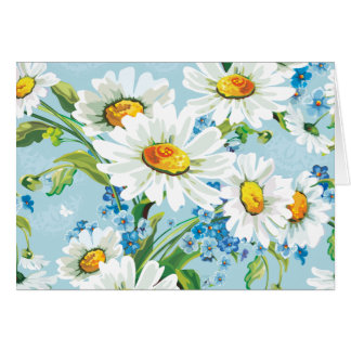 White Daisy Floral Pattern Blue Note Card