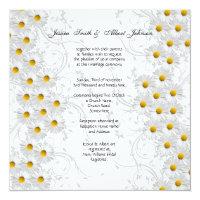 White Daisy Floral Swirls  Wedding Invitation