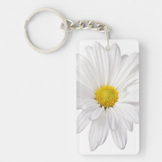 White Daisy Flower Background Customized Daisies Keychain