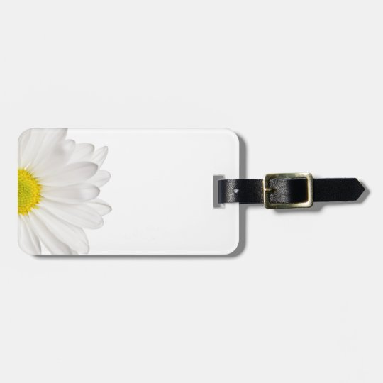 White Daisy Flower Background Customized Daisies Luggage Tag