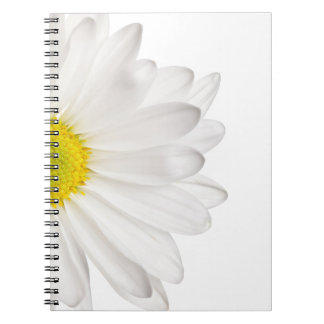 White Daisy Flower Background Customized Daisies Spiral Note Book