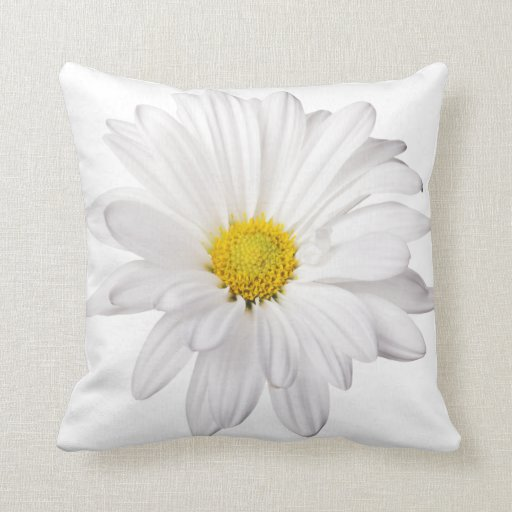 White Daisy Flower Background Customized Daisies Pillows