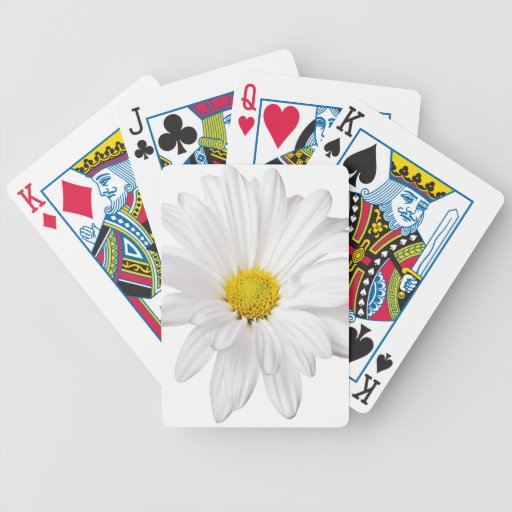 White Daisy Flower Background Customized Daisies Playing Cards
