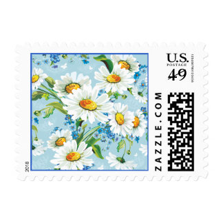 White Daisy Flower Blue Floral Postage Stamps