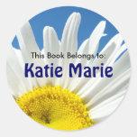 White Daisy Flower Book Tags Custom Name Round Sticker