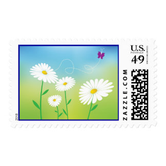 White Daisy Flower Butterfly Floral Postage Stamps