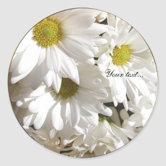 White Daisy Flower Custom Envelope Seals Classic Round Sticker