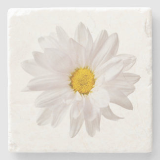 White Daisy Flower Design Floral Daisies Template Stone Coaster