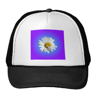 White Daisy Flower Floral Purple Blue Gradient Trucker Hat